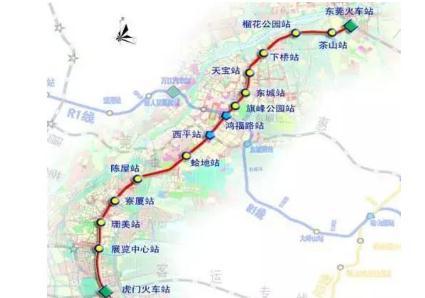 途径:东莞火车站,茶山站,榴花公园站,下桥站,天宝站,东城站,旗峰公园